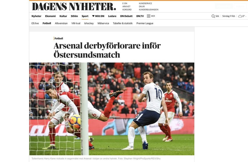 Publication in  Dagens Nyheter  on assignment for  Pro Sports Images .