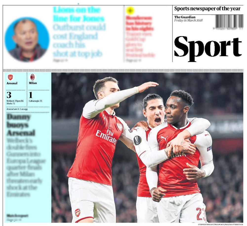Danny Welbeck  celebrates scoring from the penalty spot in  Arsenal 's Europa League match against  AC Milan . Publication in  The   Guardian .