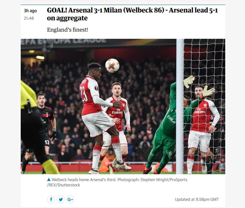 Danny Welbeck  scores his second goal of the night in  Arsenal 's Europa League match against  AC Milan . Publication in  The Guardian  online.