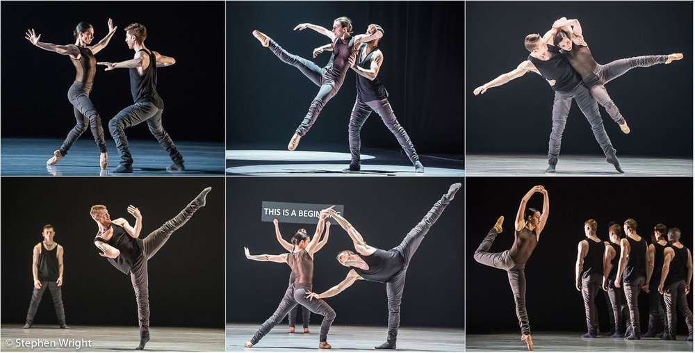 Dancers of  Ballet BC  perform  16 + a room  choreographed by  Emily Molnar  at  Sadler's Wells , London.