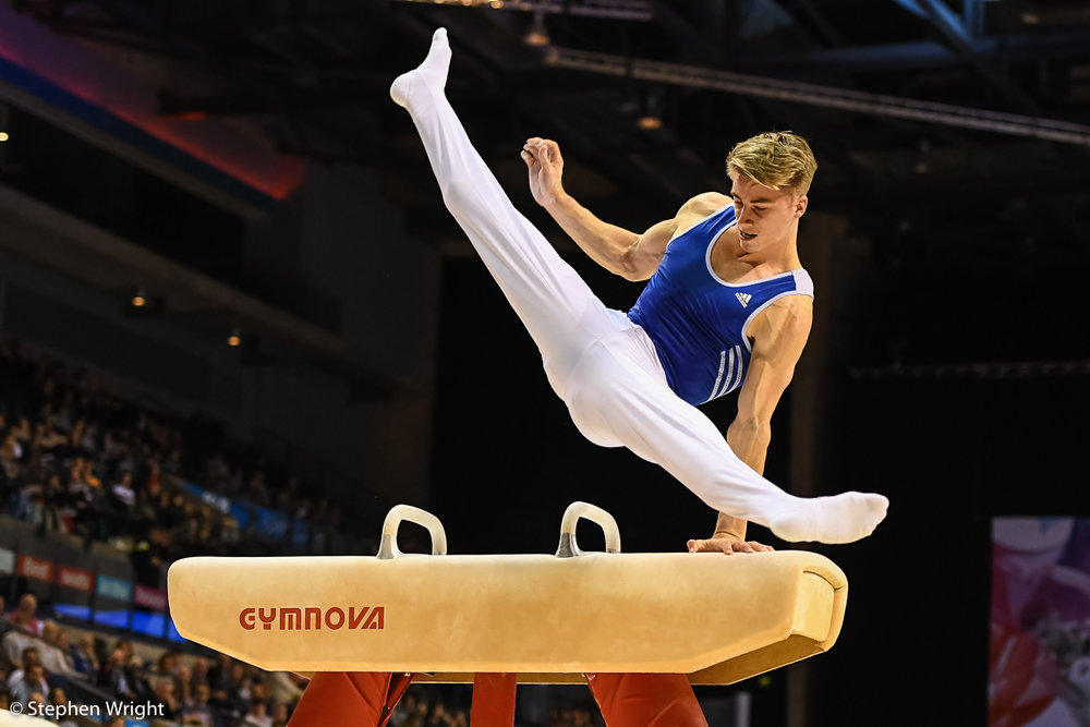 Gaius Thompson  on the Pommel Horse.
