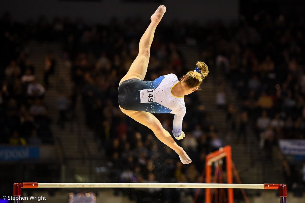 Amy Tinkler  on the Uneven Bars.