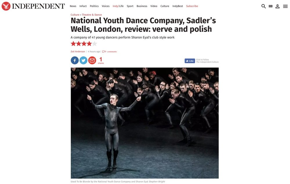 Used to be Blonde  choreographed by  Sharon Eyal  and performed by  National Youth Dance Company . Publication in the  Independent .