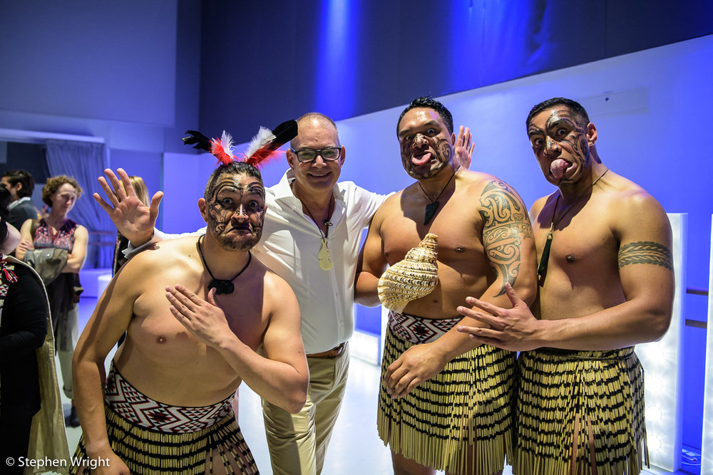 Mark Baldwin  poses with the Ngāti Rānana London Māori Club during his Farewell Party at  Rambert .