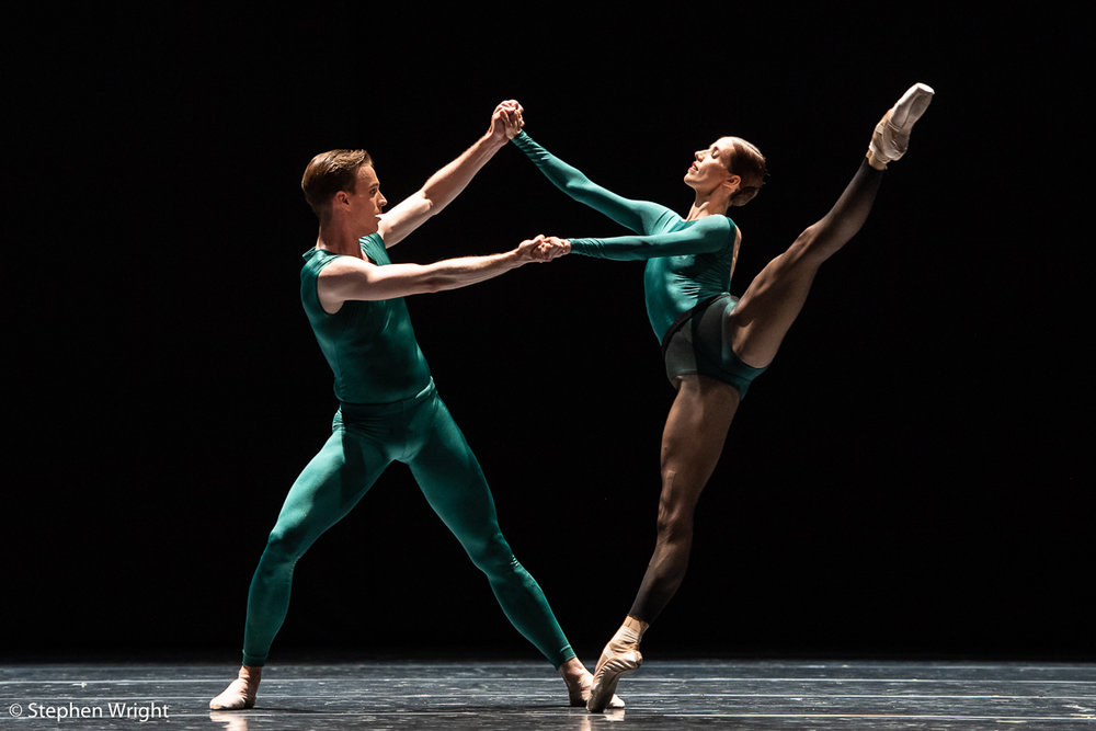 Thomas Bieszka  and  Svetlana Gileva  of  SemperOper Ballett  perform  In the Middle, Somewhat Elevated  choreographed by  William Forsythe.
