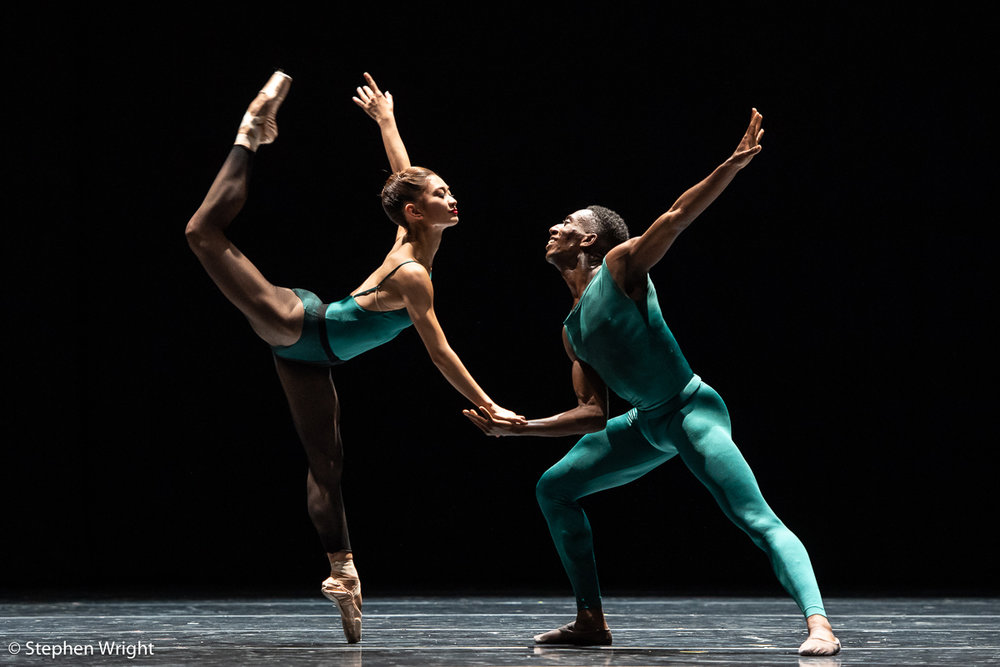 Natsuki Yamada  and  Houston Thomas  of  SemperOper Ballett  perform  In the Middle, Somewhat Elevated  choreographed by  William Forsythe.