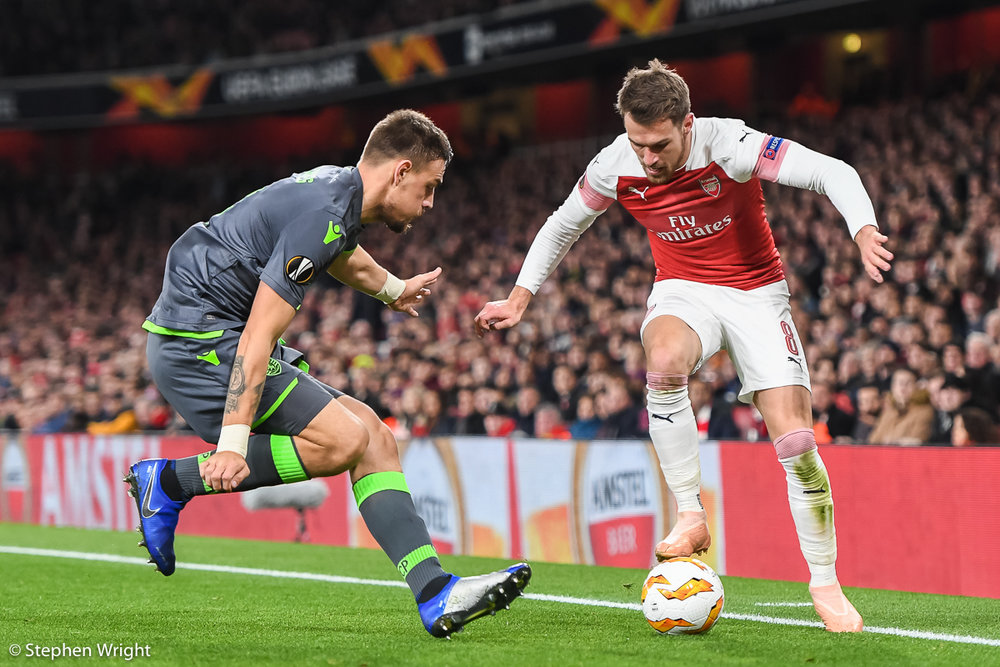 Aaron Ramsey  of  Arsenal  in action.