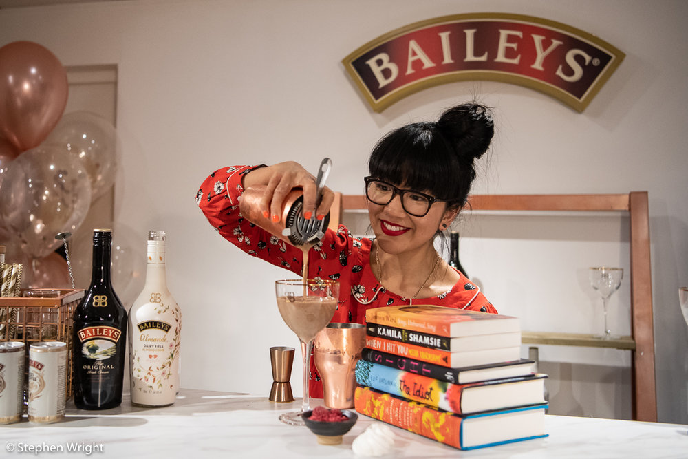 Celeste Wong  makes  Baileys  inspired cocktails as part of the  Women's Prize for Fiction  events in  Waterstones .