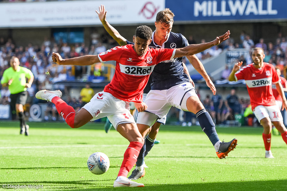 Ashley Fletcher  of  Middlesbrough  takes a shot on goal against  Millwall  at  The Den .