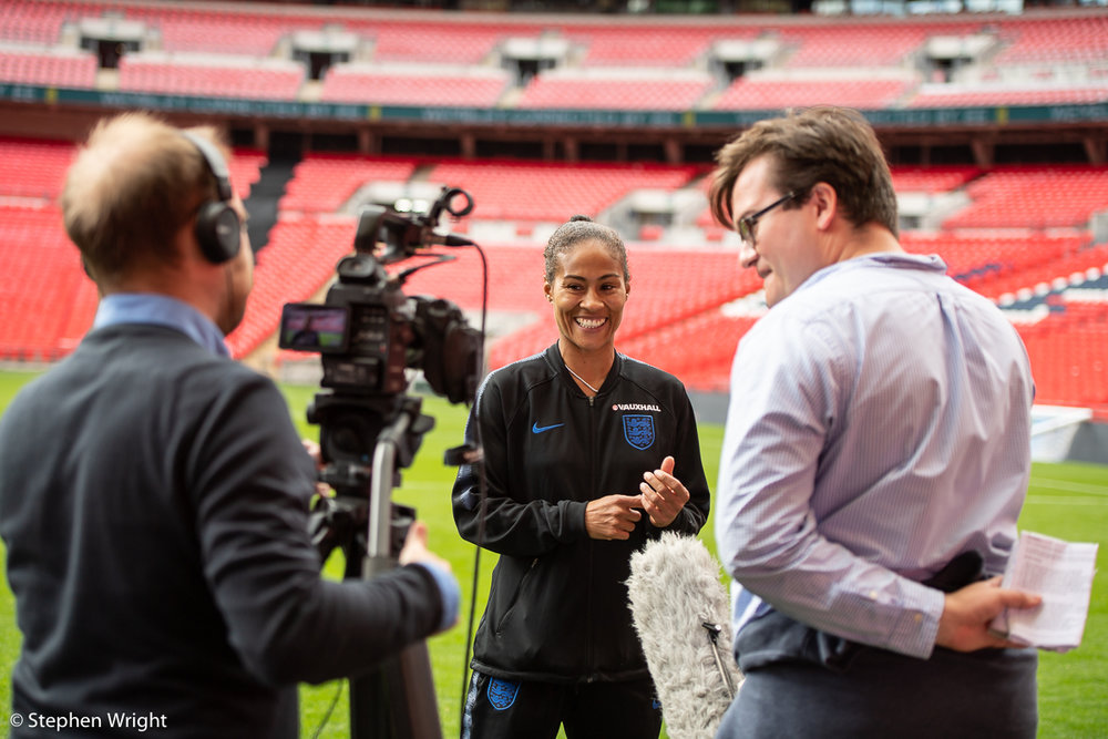 Rachel Yankey  gives a training session with the  SSE Wildcats  on the  Wembley  pitch.