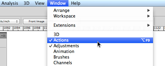 Actions tab in Photoshop
