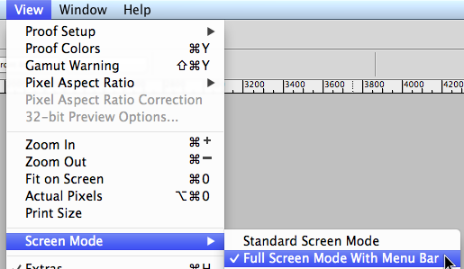 Go to View > Screen Mode > Full Screen Mode With Menu Bar
