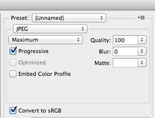 File type set to JPEG, Quality set to 100, Progressive checked, Convert to sRGB checked