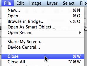 File > Close