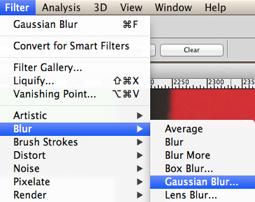 Filter > Blur > Gaussian Blur