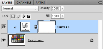 Curves layer in layers palette