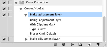 "Actions palette with first ""Make adjustment layer"" highlighted blue"