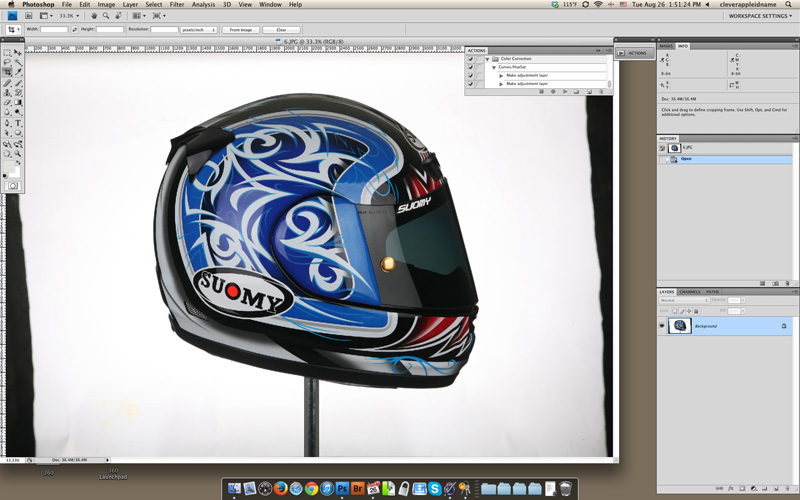 Suomy motorcycle helmet opened in Photoshop