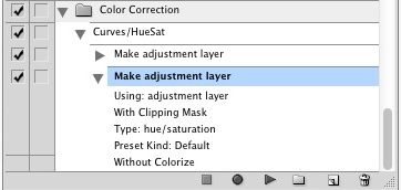 Actions palette with hue/saturation adjustment layer highlighted blue