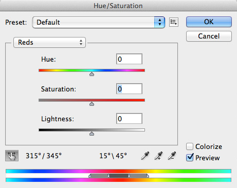 Hue/Saturation window with default settings