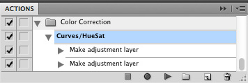 Curves/HueSat Action highlighted in Actions palette