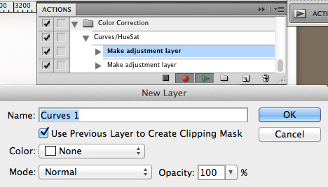 """Make adjustment layer"" for Curves highlighted in Actions palette"