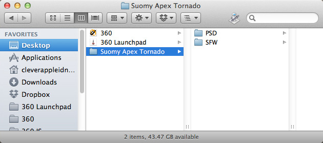 """PSD"" and ""SFW"" folders within the ""Suomy Apex Tornado"" folder on the desktop"