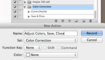 "New Action named ""Adjust Colors, Save, Close"""