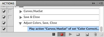 """Curves/HueSat"" Action playing within ""Adjust Colors, Save, Close"" Action"