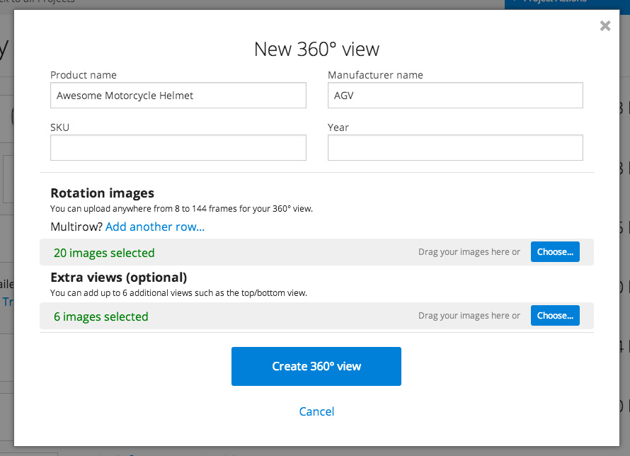 Upload a new 360 view