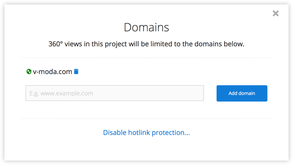 360 viewer domain restriction