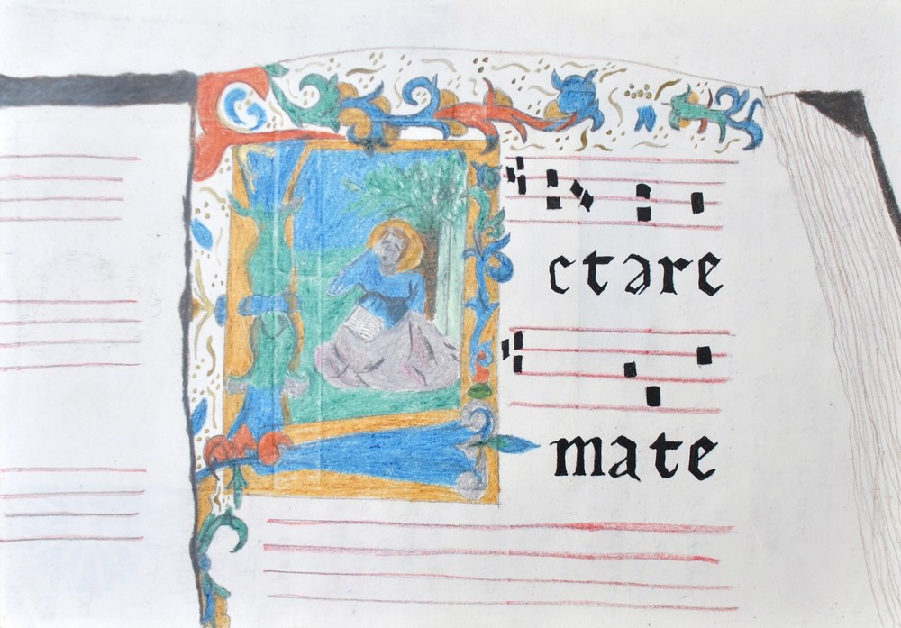 Illuminated Manuscript Sketch, Italy, 2010
