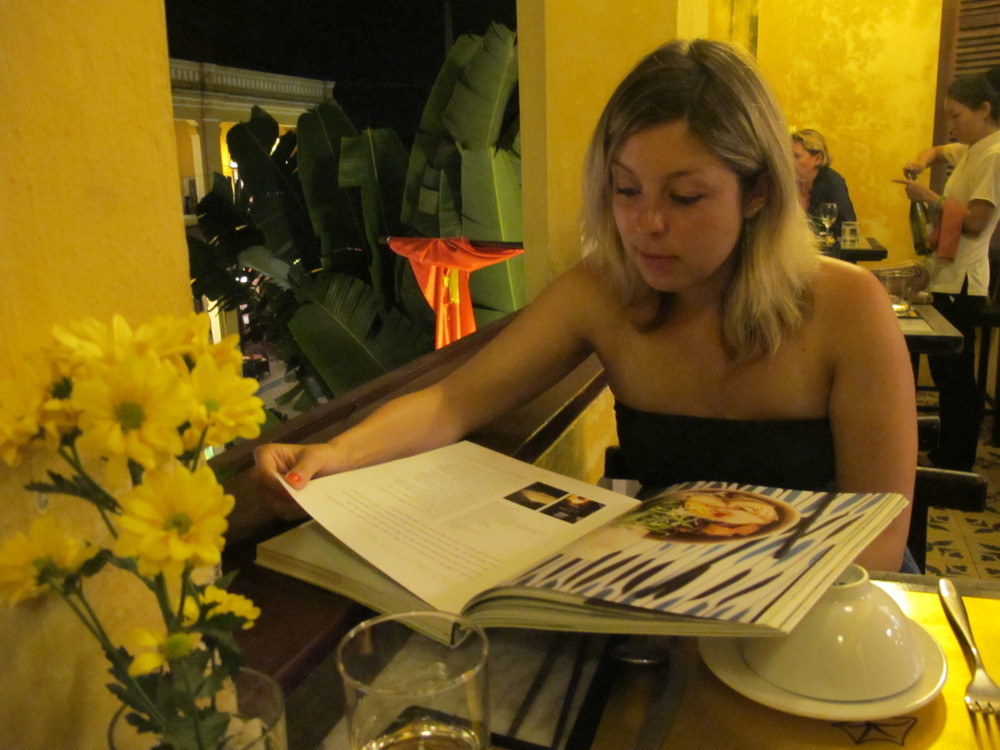 "Reading the amazing ""Taste Vietnam"" Cookbook at Morning Glory Restaurant"