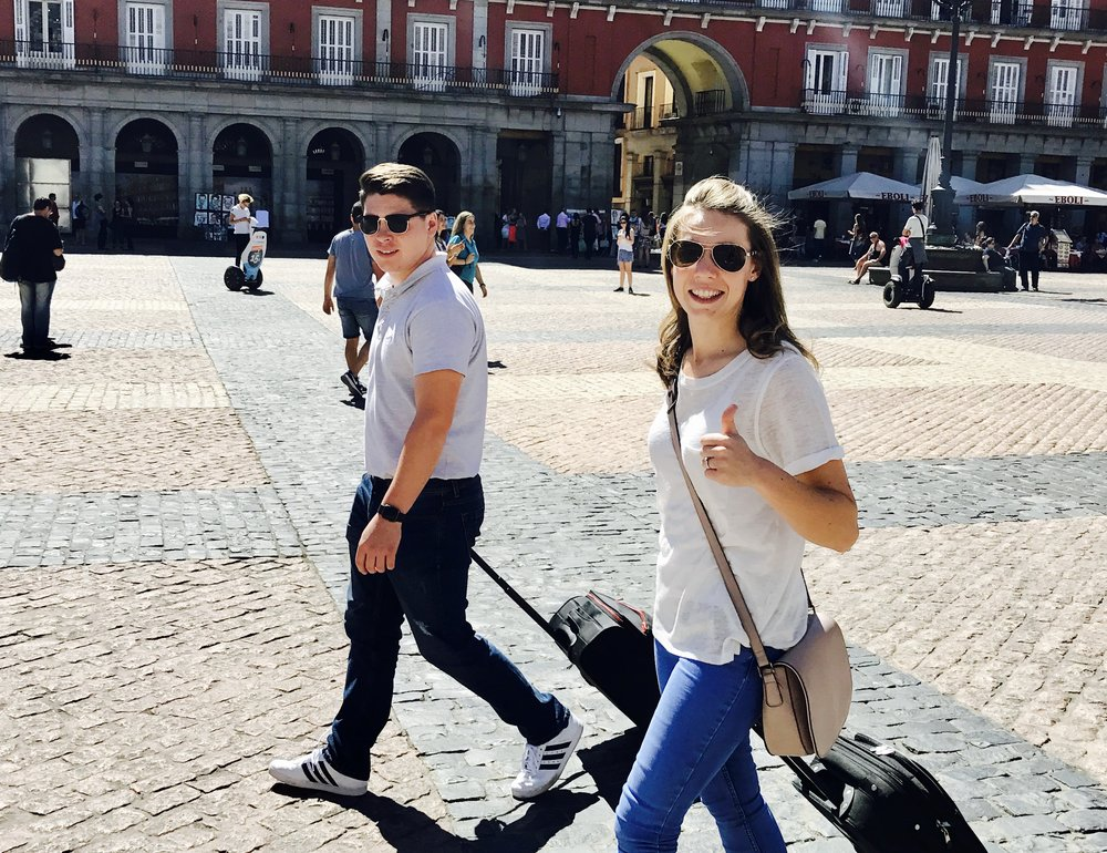 Esme and Lomas en route to the apartment, Plaza Mayor, Madrid, Spain