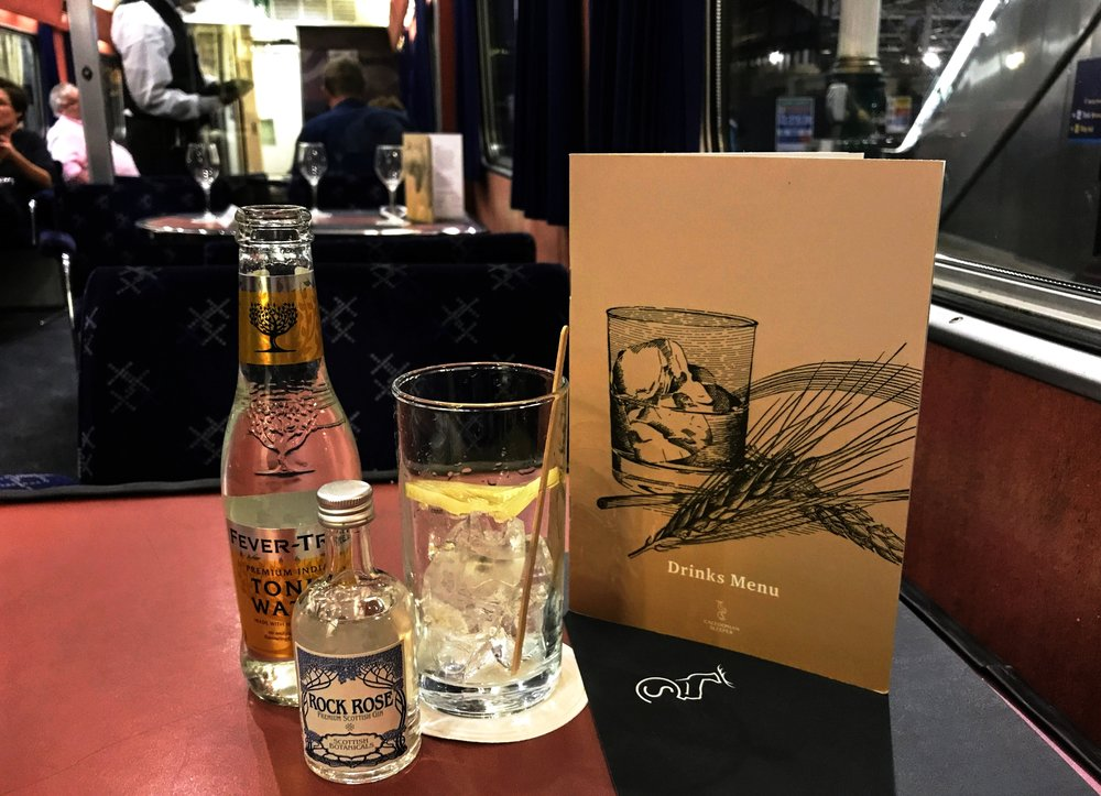 A Rock Rose Gin and Tonic aboard the Caledonian Sleeper at Edinburgh Waverly Station