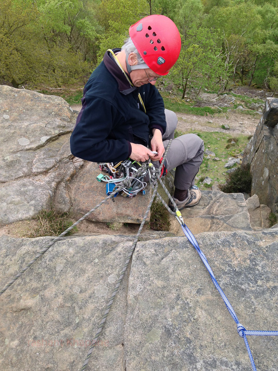 Mark ready to belay after my climb