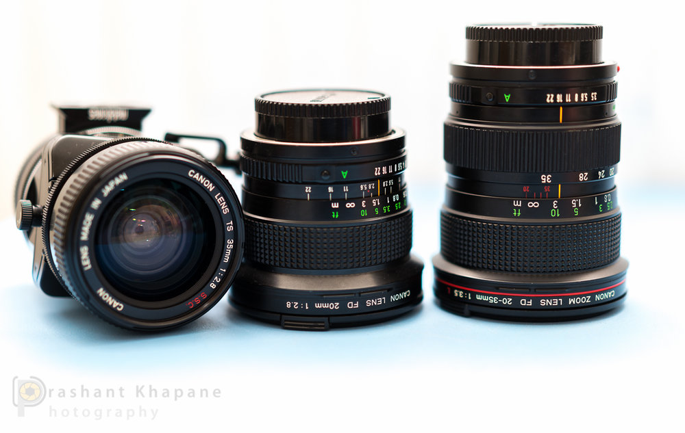 Click to view large. The holy trinity of Canon FD line for landscape photography.