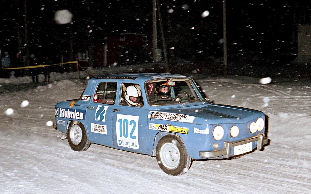 Birgit Lampela-Sinikka Lehtimäki Pohjanmaa-rallissa vuonna 1981 tai -82. Kuva Eero Auvinen