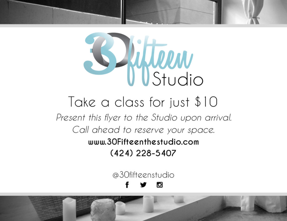 This is a flyer I designed for 30Fifteen Studio.