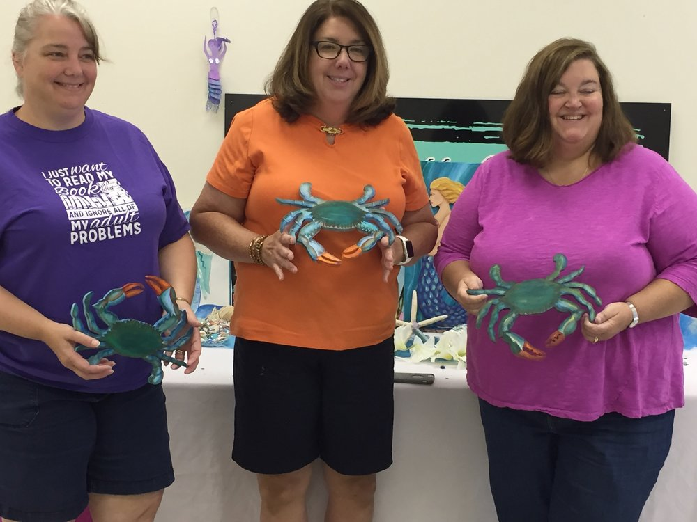 Acrylic crab painting class - Artfully Yours Williamsburg, VA.