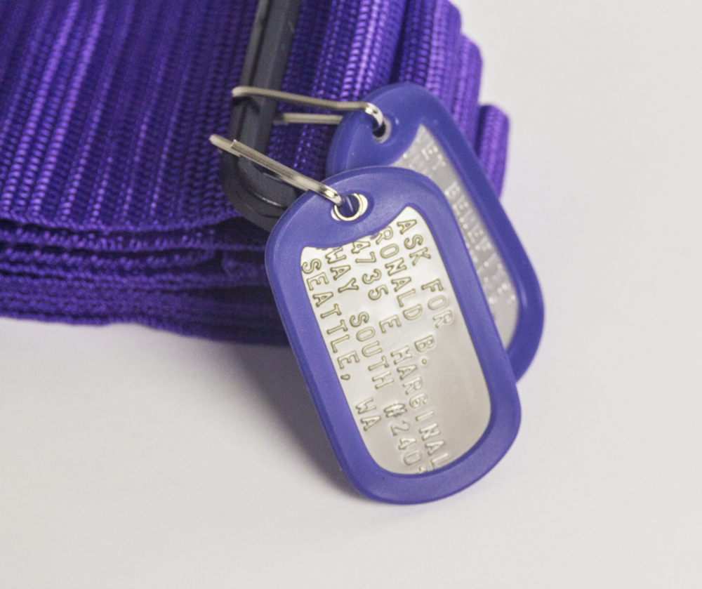 Dog tags with stamped information