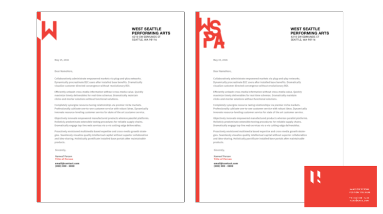 Letterhead options - Click to expand into lightbox
