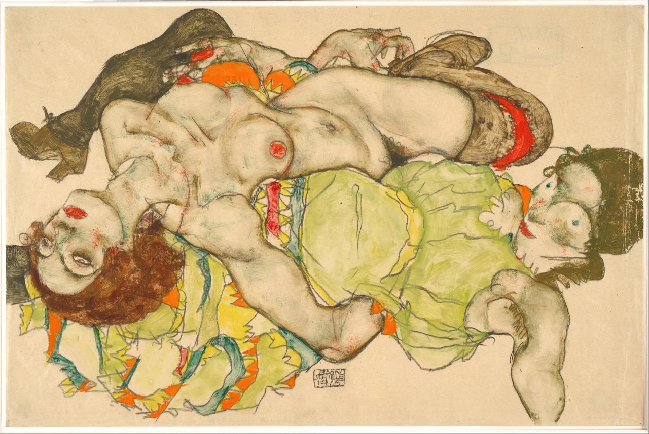 iareart :       Female Lovers ,  Egon  Schiele  ,  1915.      Albertina Museum , Vienna, Austria.
