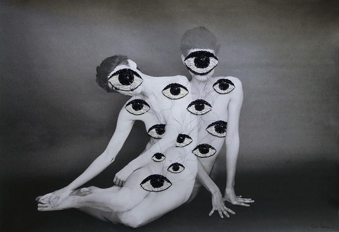 boyirl :       Jose Ignacio Romussi Murphy        eyes       embroidery on photo///////              foto*** Amanda Charchian