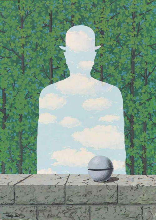 blastedheath :     René Magritte (Belgian, 1898-1967),  La belle promenade , 1965. Gouache on paper, 41.8 x 30cm.