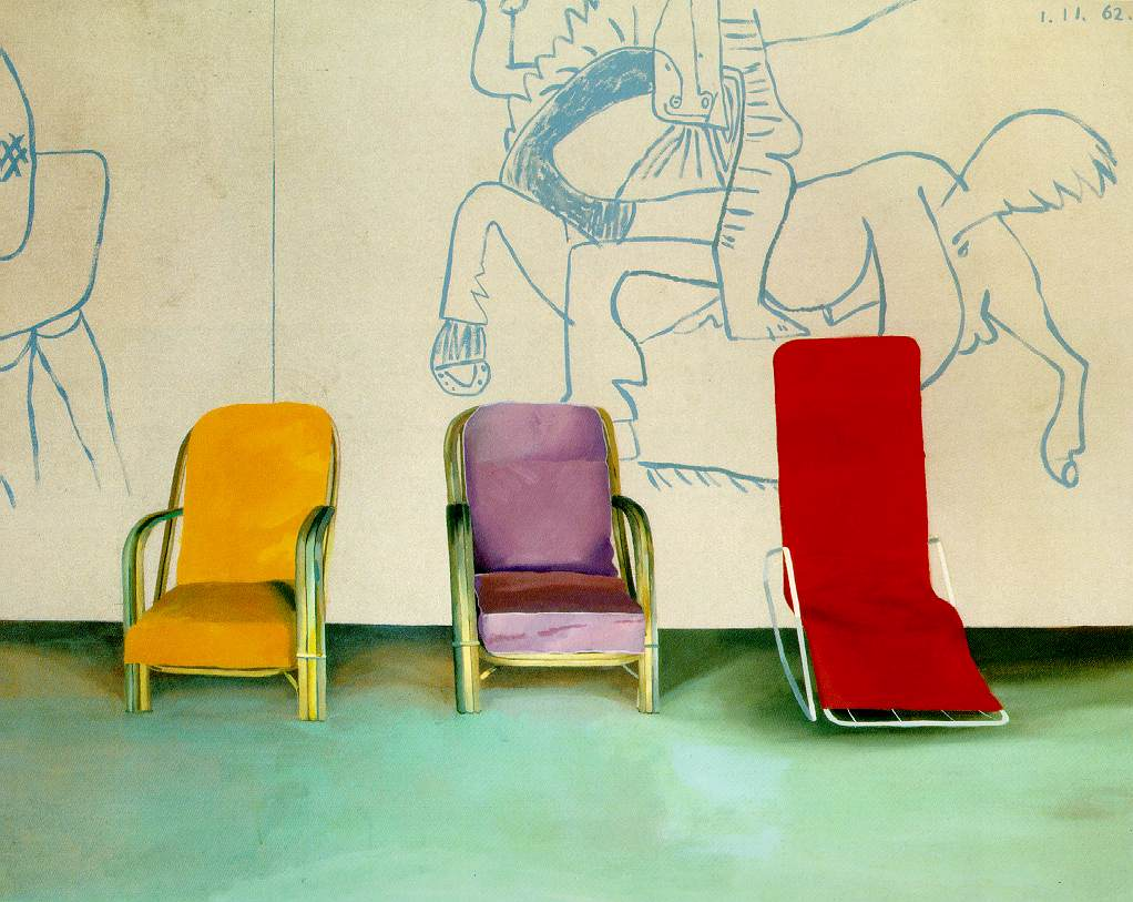 gallowhill :      David Hockney  - Three Chairs With a Section of a Picasso Mural, 1970