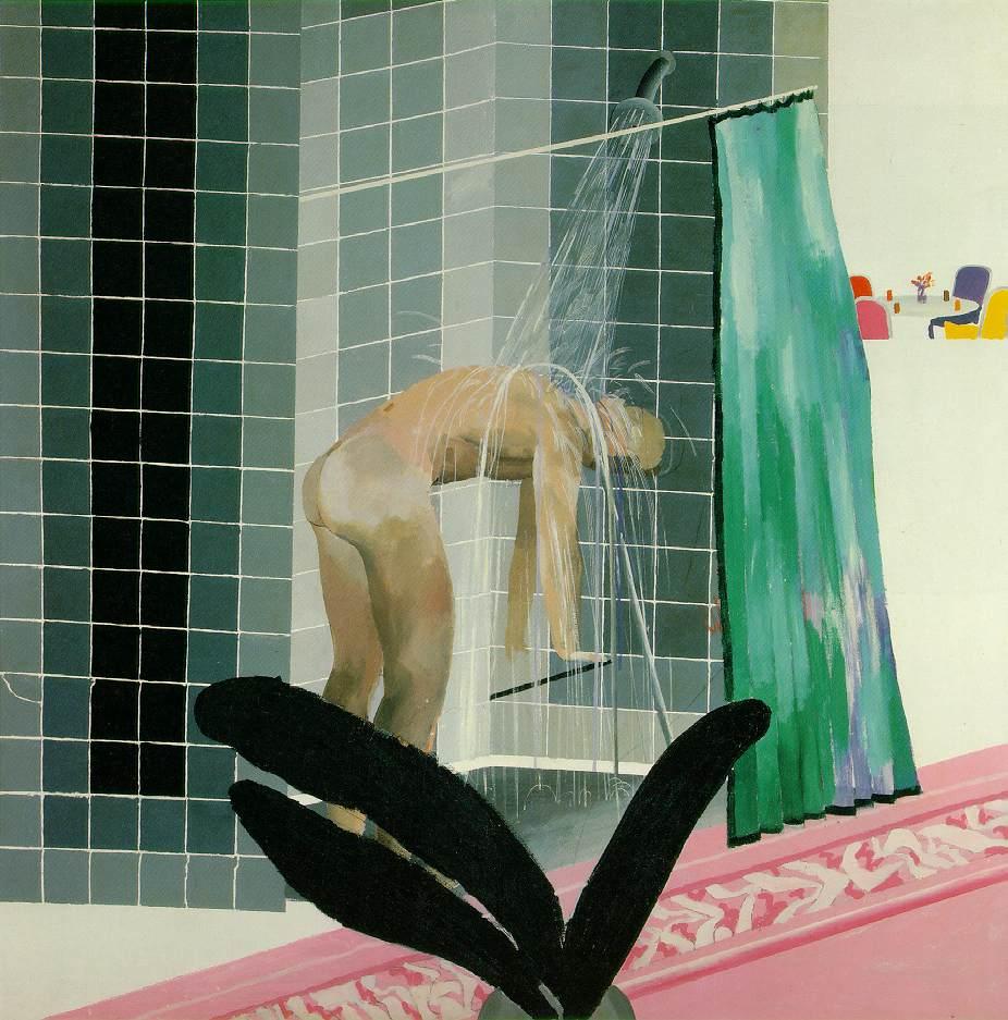 michael-angelo-lombardo :      Man In Shower in Beverly Hills , 1964   David Hockney
