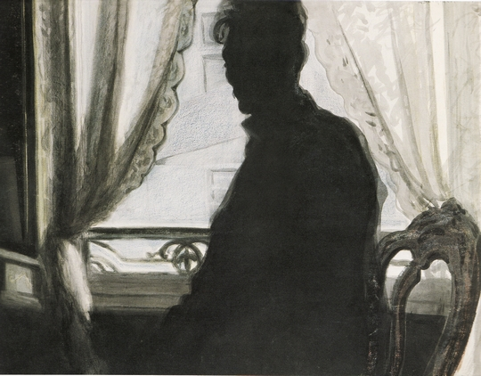 poboh :      Silhouette of the painter , 1907, Léon Spilliaert. Belgian Symbolist Painter ( 1881- 1946 )