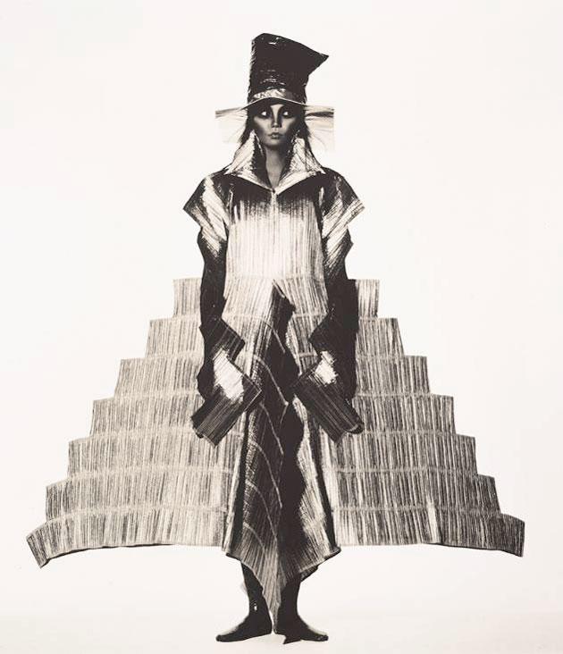Irving Penn. Issey Miyake Staircase Dress , New York, 1994. Platinum/palladium print.
