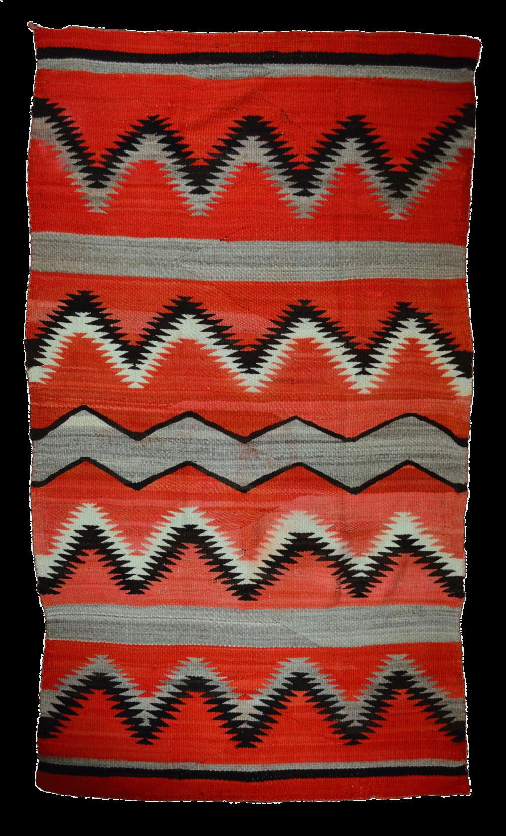 "Transitional Navajo Man's Serape Handspun Wool Synthetic Reds, Black & Grey c.1880-1890 76"" x 44"" // CRT0006"